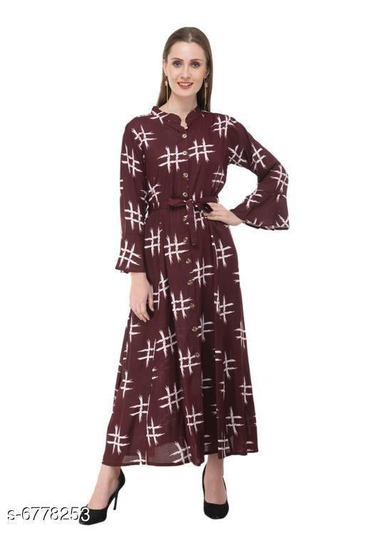 Women's Printed Brown Cotton Dress