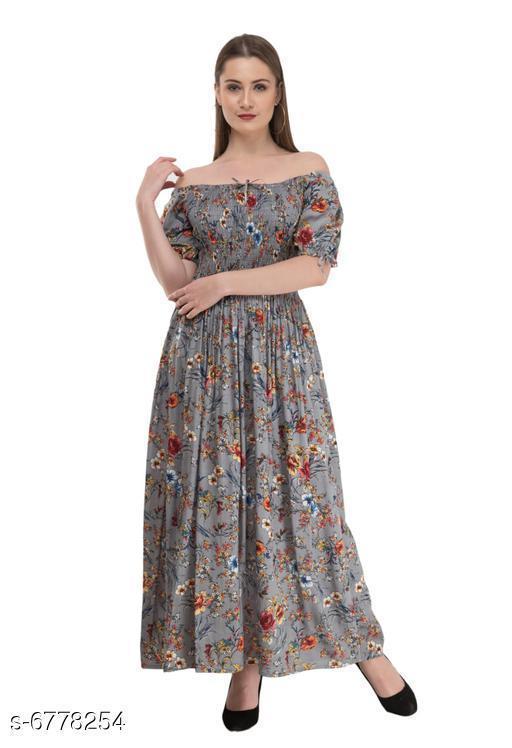Women's Printed Grey Cotton Dress