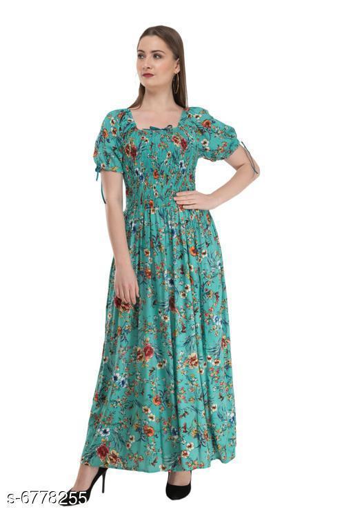 Women's Printed Blue Cotton Dress