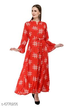 Women's Printed Red Cotton Dress