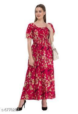 Women's Printed Pink Cotton Dress