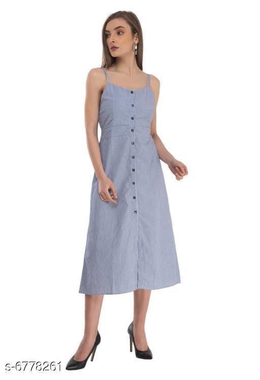 Women's Solid Blue Cotton Dress