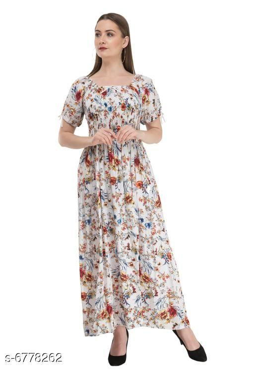 Women's Printed White Cotton Dress