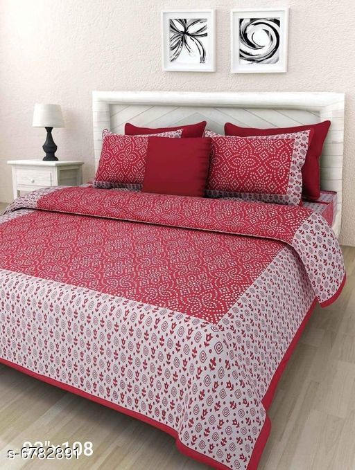 Pure cotton double bed bedsheet two pillow cover