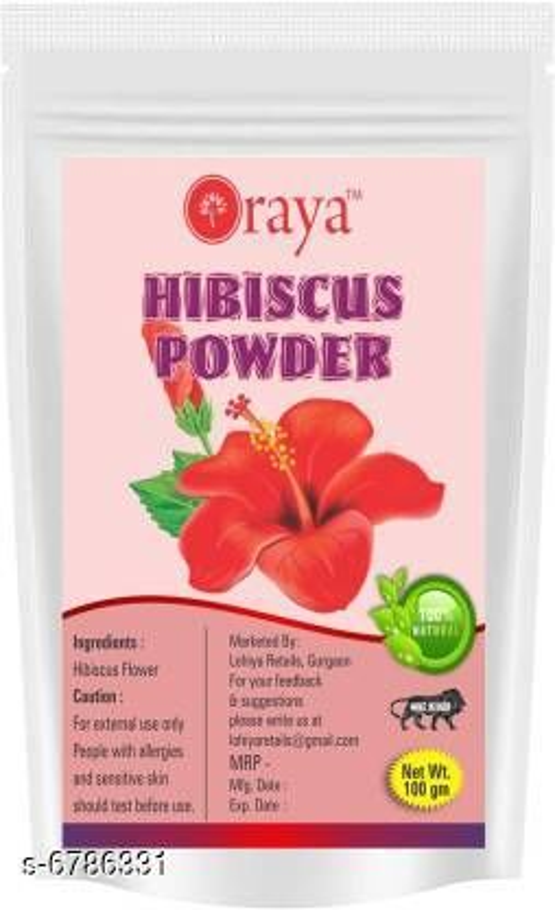 Hair Care ORAYA Pure & Natural Hibiscus Powder (100 g)  *Product Name* ORAYA Pure & Natural Hibiscus Powder (100 g)  *Multipack* 1  *Capacity* 100 gm  *Sizes Available* Free Size *   Catalog Rating: ★3.8 (8)  Catalog Name:  Advanced Nourshing Hair Cream & Masks CatalogID_1082534 C50-SC1249 Code: 571-6786331-