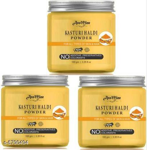 Hair Care AroMine Kasturi Turmeric Haldi Powder For Skin, Hair   *Product Name* AroMine Kasturi Turmeric Haldi Powder For Skin, Hair  *Multipack* 3  *Capacity* 300 gm  *Sizes Available* Free Size *    Catalog Name:  Advanced Ultra Hair Cream & Masks CatalogID_1083373 C50-SC1249 Code: 272-6790494-