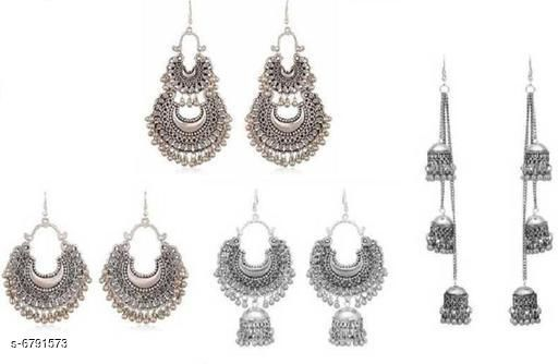 Combo pack of 4 Oxidized silver earrings