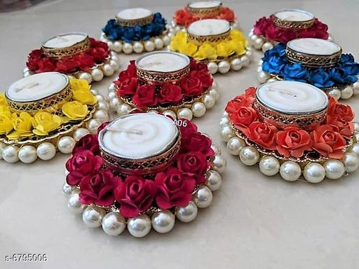 Home Décor Hand Made Diyas with Wax Candles