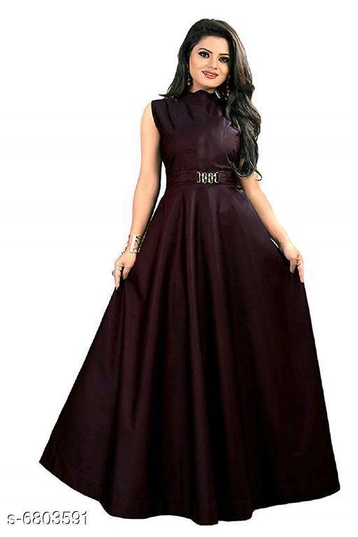 Women's Solid Brown Satin Dress