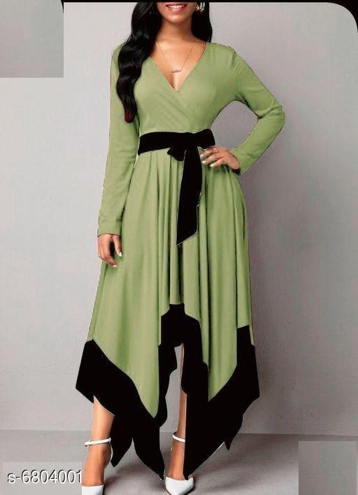 Women's Solid Mint Green Rayon Dress