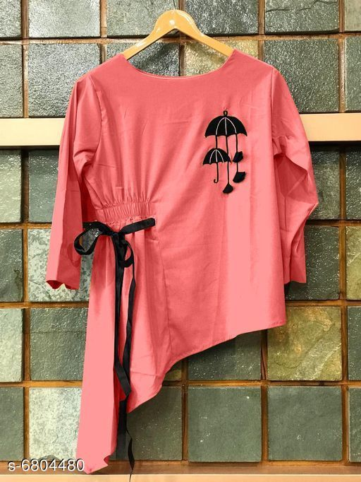 Women's Solid Pink Rayon Top