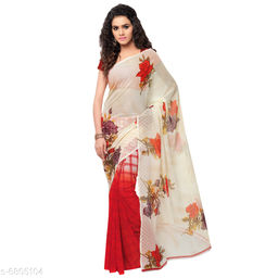 Anand Saree Floral Print Daily Wear Poly Georgette Saree(Red)