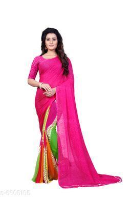 Anand Saree Striped Bandhini Georgette Saree(Pink)