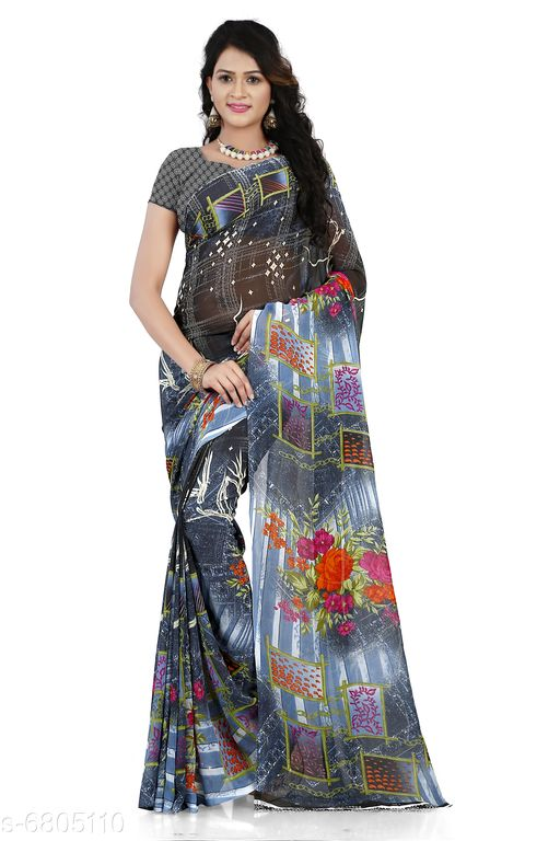 Anand Saree Printed Daily Wear Georgette Saree(Blue)