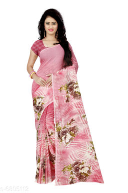 Anand Saree Floral Print Daily Wear Poly Georgette Saree(Pink)