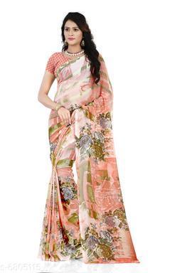 Anand Saree Floral Print Daily Wear Georgette Saree(Orange)