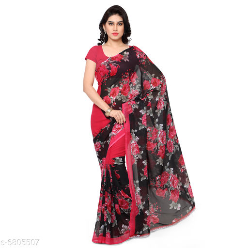 Anand  Sarees Printed, Floral Print Daily Wear Poly Georgette Saree (Pink)