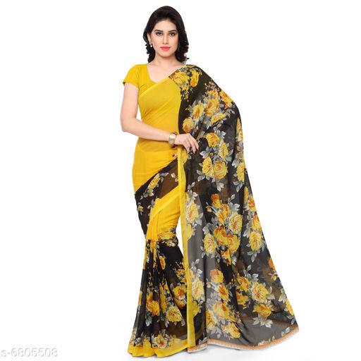 Anand  Sarees Floral Print Daily Wear Poly Georgette Saree (Yellow)