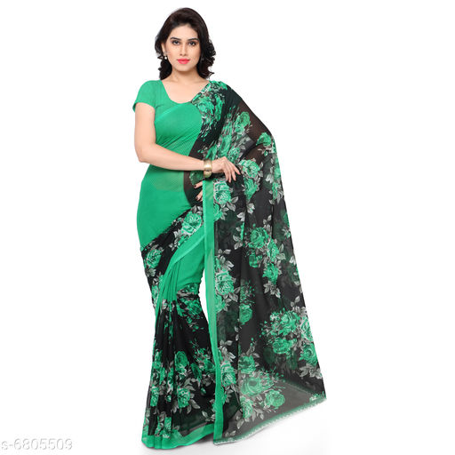 Anand Sarees Printed, Floral Print Daily Wear Poly Georgette Saree (Green)