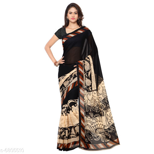 Anand  Sarees Paisley, Striped, Floral Print Daily Wear Poly Georgette Saree (Black)