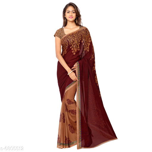 Anand   Sarees Floral Print Daily Wear Poly Georgette Saree (Red)