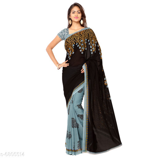 Anand  Sarees Floral Print Daily Wear Poly Georgette Saree (Brown)