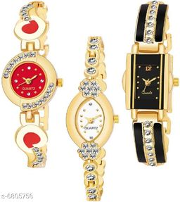 HRV Luxurious Looking Black Dial Magnet Belt Girl And Women Combo Watches Analog Watch