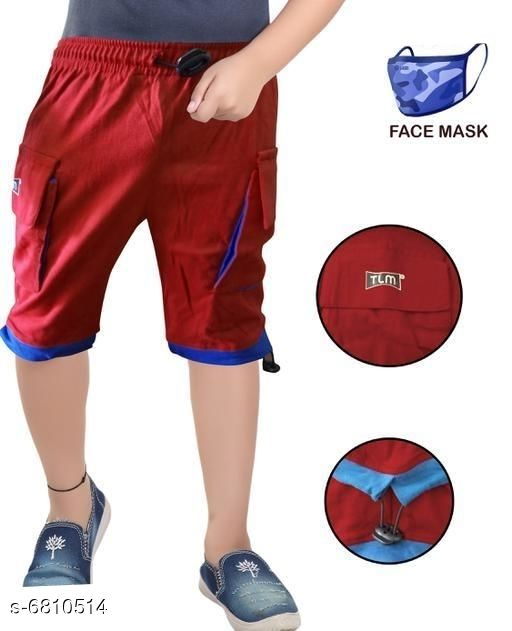 Capris & Three-Fourths Trendy Kids Boys Capris With Mask   *Fabric* Cotton  *Mask Fabric* Cotton  *Pattern* Solid  *Multipack* It Has 1 Piece Of Capri With 1 Piece Of Mask  *Sizes*   *6-7 Years (Waist Size* 8.5 in, Length Size  *7-8 Years (Waist Size* 9.5 in, Length Size  *Sizes Available* 6-7 Years, 7-8 Years *   Catalog Rating: ★3.3 (46)  Catalog Name: Trendy Kids Boys Capris With Mask  CatalogID_1086899 C59-SC1176 Code: 142-6810514-