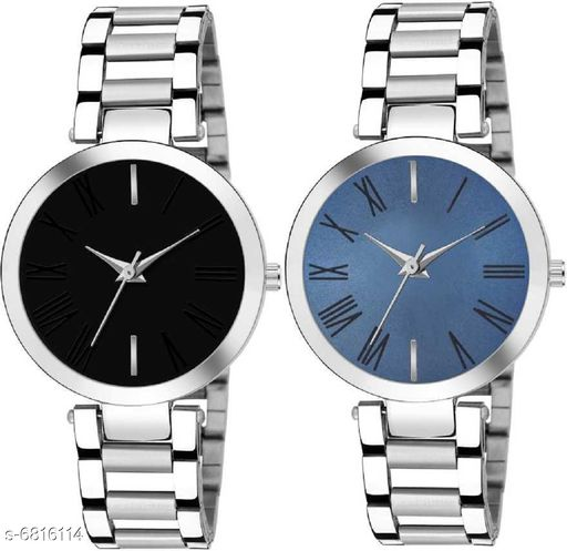 HRV Combo Pack 3 Attractive Designer Multicolor Dial Golden Chain Belt Bracelate Watch For Women & Girls Pq-20 Analog Watch