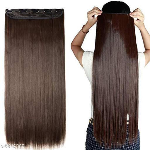 GuruEmbellish 26-Inch 5 Clip Based Synthetic Fashion Hair Extension / Hair Wig / Dark Brown Hair Accessories