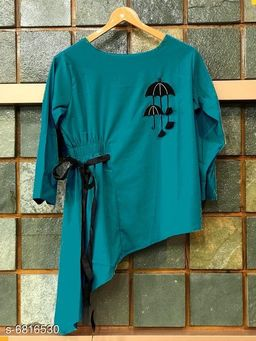 Women's Embroidered Teal Rayon Top