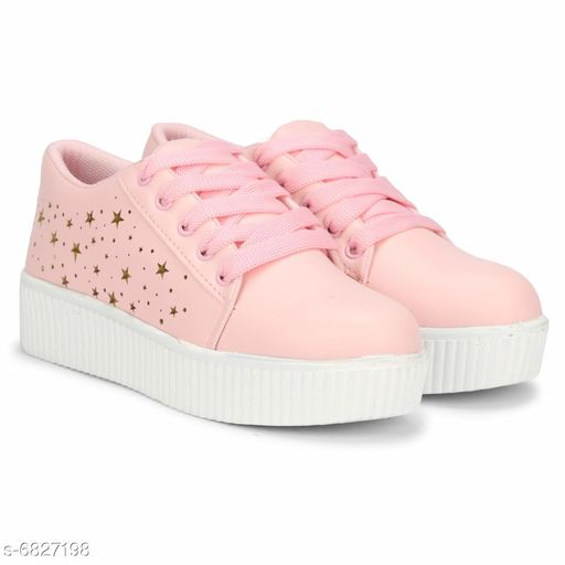 Attractive Women's Syntethic Leather Pink Sneakers