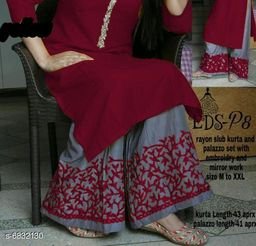 Women's Solid Rayon Kurta with Palazzos