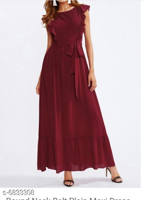 Women's Solid Maroon Cotton Dress