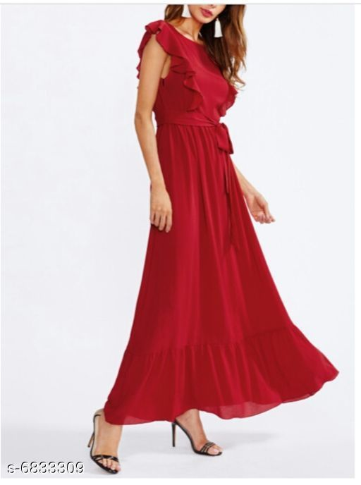 Women's Solid Red Cotton Dress