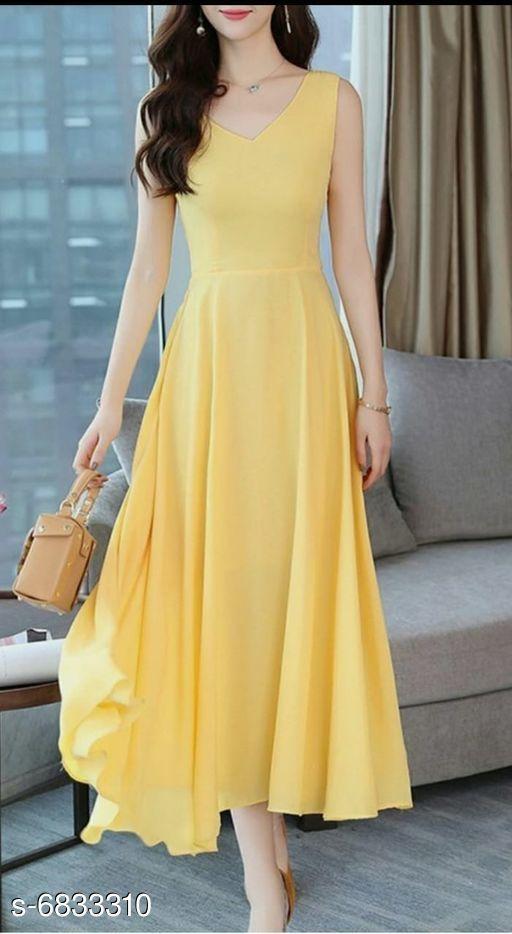 Women's Solid Lemon Yellow Cotton Dress