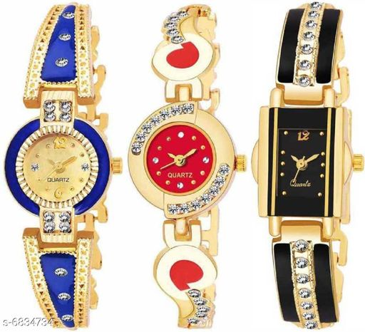 Stylish Attractive Girls Watches (Pack Of 3)