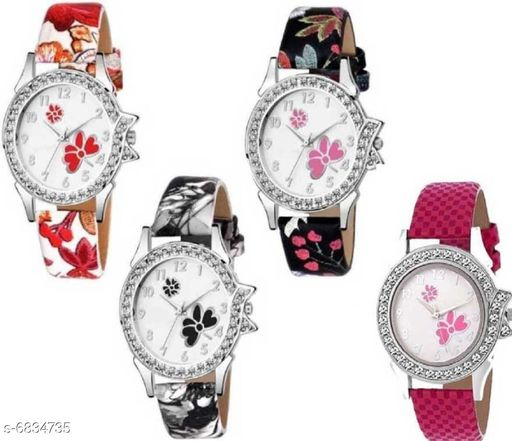 Stylish Attractive Girls Watches (Pack Of 4)
