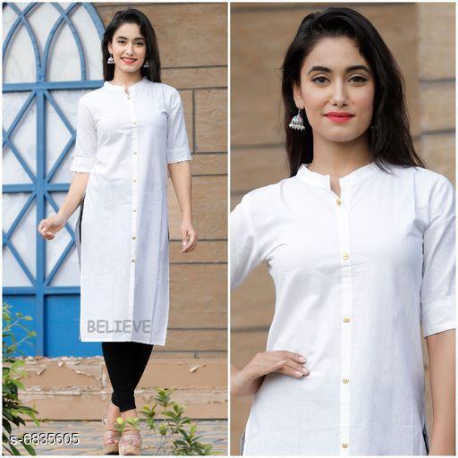 Women's Solid White Rayon Kurti