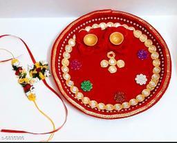 Rakhi Set (Pooja Thali, 3 Pieces Of Rakhi With Roli & Chawal)