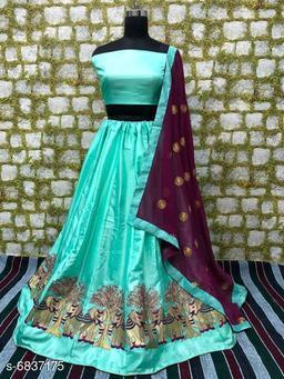 Partywear paper silk lehenga's