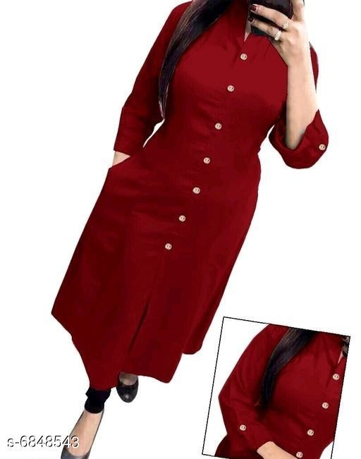 Women Rayon Front Slit Solid Kurti