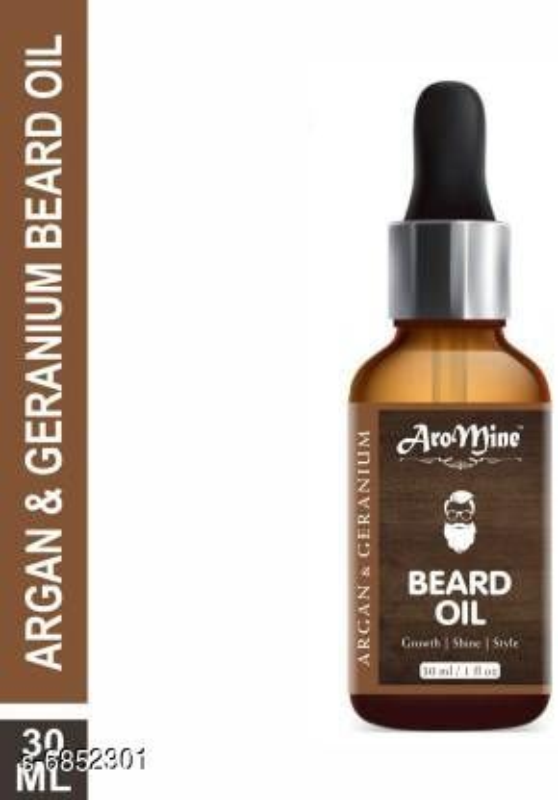 AroMine 100% Natural Smoothening Beard Oil -Argan & Geranium Hair Oil (30 ml)