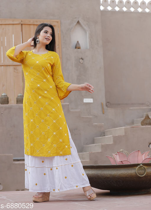 Kurta Sets Women Embroidred Rayon Straight Kurta with Skirt Set  *Kurta Fabric* Rayon  *Set Type* Kurta With Bottomwear  *Pattern* Printed  *Multipack* Single  *Sizes*   *M (Kurta Waist Size* 38 in, Kurta Length Size  *L (Kurta Waist Size* 40 in, Kurta Length Size  *XL (Kurta Waist Size* 42 in, Kurta Length Size  *XXL (Kurta Waist Size* 44 in, Kurta Length Size  *Sizes Available* M, L, XL, XXL *    Catalog Name: Aishani Superior Women Kurta Sets CatalogID_1098433 C74-SC1003 Code: 027-6880529-