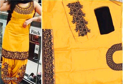 VASU FAB Cotton Yellow Unstitched Dress Material