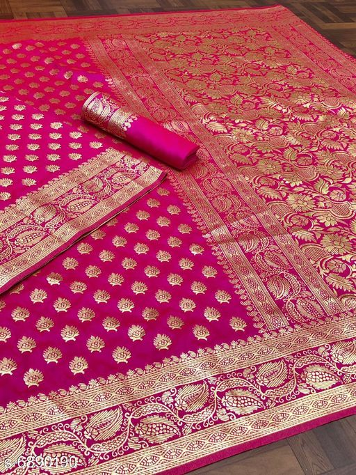 Sarees fashion & fashion reach Banarasi zari saree  *Saree Fabric* Banarasi Silk  *Blouse* Separate Blouse Piece  *Blouse Fabric* Soft Silk  *Pattern* Solid  *Blouse Pattern* Same as Border  *Multipack* Single  *Sizes*   *Free Size (Saree Length Size* 5.5 m, Blouse Length Size  *Sizes Available* Free Size *   Catalog Rating: ★4.1 (146)  Catalog Name: Abhisarika Fashionable Sarees CatalogID_1099999 Code: 9331-6890190-