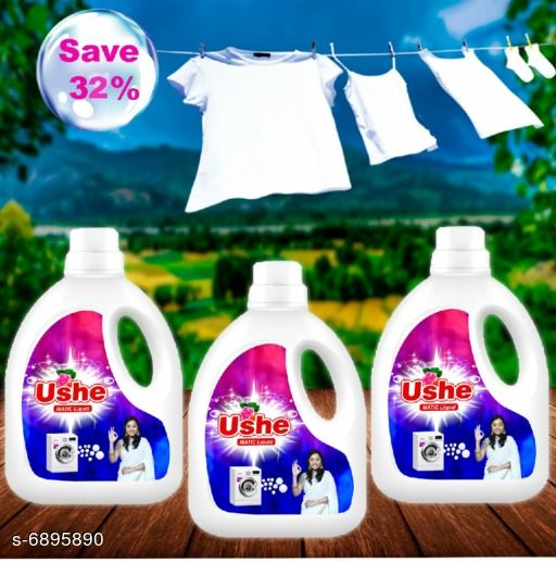 Detergents Detergent   *Product Name* Ushe Matic Detergent  *Product Type* Detergent  *Brand Name* Ushe  *Capacity* 1 Ltr (Each)  *Multipack* 3  *Sizes Available* Free Size *    Catalog Name: Detergent CatalogID_1100860 C89-SC1744 Code: 166-6895890-