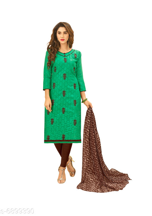 Semi Stitched Suits Salwar Suit with Matching . The Ethnic Chic Green Colored Cotton Jacquard Salwar Suit. top length 39 to 41(inches)  *Top Fabric* Jacquard  *Lining Fabric* Cotton  *Bottom Fabric* Cotton  *Dupatta Fabric* Chiffon  *Pattern* Solid  *Multipack* Single  *Sizes*   *Semi Stitched (Top Bust Size* Up To 40 in, Top Length Size  *Sizes Available* Semi Stitched *    Catalog Name: Floral Solid Jacquard with Jacquard work and Phulkari DupattaSemi-Stitched Suits & Dress Materials (Single Pack) CatalogID_1101443 C74-SC1522 Code: 526-6899390-9961