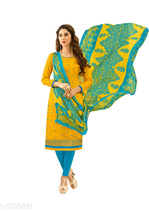 Semi Stitched Suits Salwar Suit with Matching mask . The Ethnic Chic Yellow Colored Cotton Jacquard Salwar Suit. top length 39 to 41(inches)  *Top Fabric* Jacquard  *Lining Fabric* Cotton  *Bottom Fabric* Cotton  *Dupatta Fabric* Chiffon  *Pattern* Solid  *Multipack* Single  *Sizes*   *Semi Stitched (Top Bust Size* Up To 40 in, Top Length Size  *Sizes Available* Semi Stitched *    Catalog Name: Floral Solid Jacquard with Jacquard work and Phulkari DupattaSemi-Stitched Suits & Dress Materials (Single Pack) CatalogID_1101443 C74-SC1522 Code: 526-6899391-9961