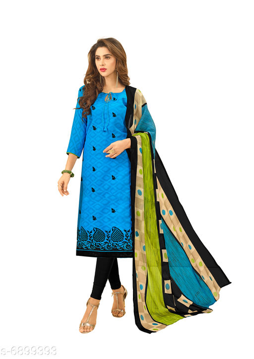 Semi Stitched Suits Salwar Suit with Matching mask. The Ethnic Chic Blue Colored Cotton Jacquard Salwar Suit. top length 39 to 41(inches)  *Top Fabric* Jacquard  *Lining Fabric* Cotton  *Bottom Fabric* Cotton  *Dupatta Fabric* Chiffon  *Pattern* Solid  *Multipack* Single  *Sizes*   *Semi Stitched (Top Bust Size* Up To 40 in, Top Length Size  *Sizes Available* Semi Stitched *    Catalog Name: Floral Solid Jacquard with Jacquard work and Phulkari DupattaSemi-Stitched Suits & Dress Materials (Single Pack) CatalogID_1101443 C74-SC1522 Code: 526-6899393-9961